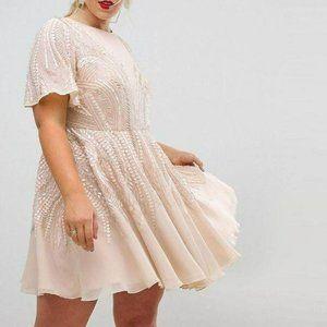 ASOS Sequin Beaded Short Sleeve Skater Dress